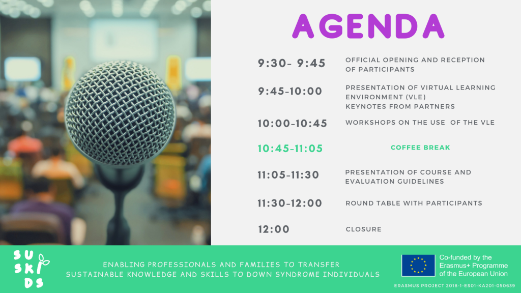 Left: an image of a microphone with conference attendants at the bottom, the room is out of focus. On the right: text with the agenda of the conference. bottom line: project title and logo, and EU emblem